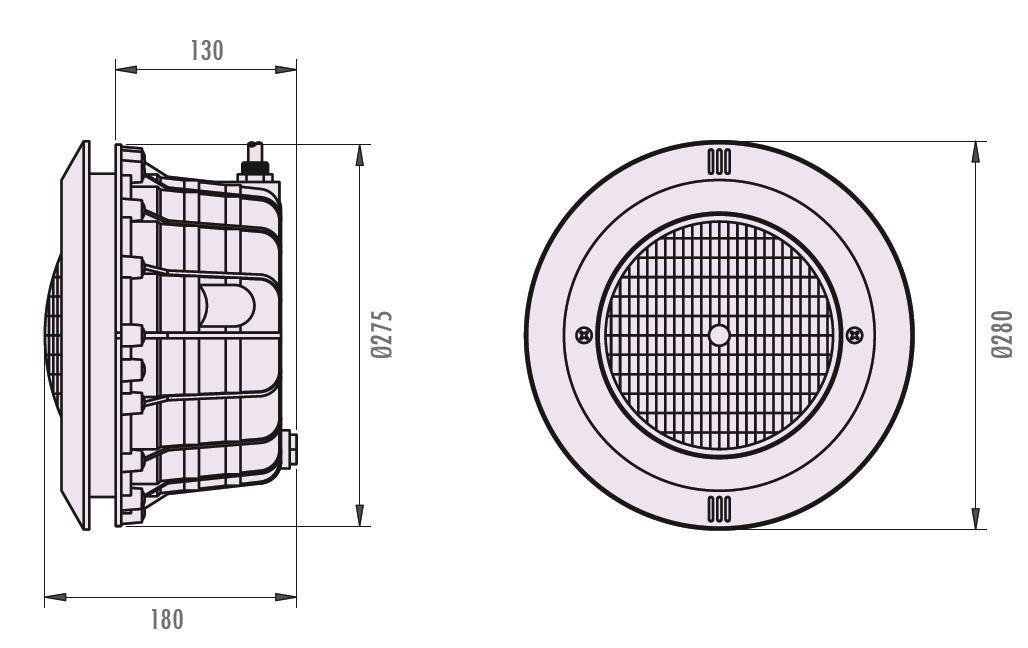 LED Scheinwerfer RGB - komplett mit Einbaunische - inkl. FB