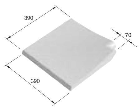 Randstein Innenecke 90°, 39x39 cm, Welle (65-30 mm), weiss