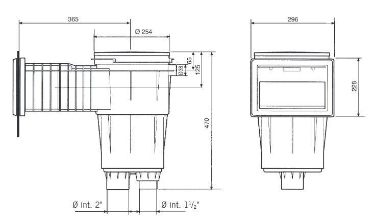 ASTRAL Einbauskimmer II - Saugöffnung 21x15 cm -Tiefe 510 mm