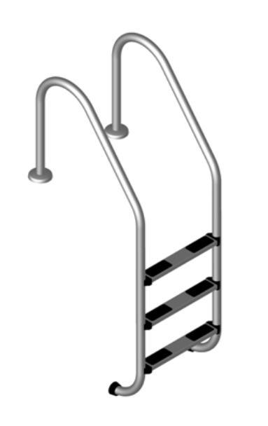 Edelstahlleiter breit 3-stufig V2A