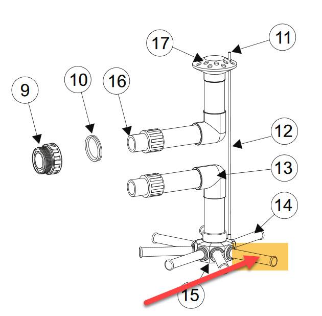 Filterarm Länge 110 mm - für Filterkessel - 3/4 Zoll AG - für DM 400