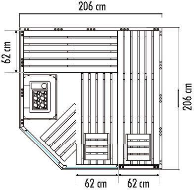 Kombisauna SET VARBERG 2,06 x 2,06 x 2,04 m