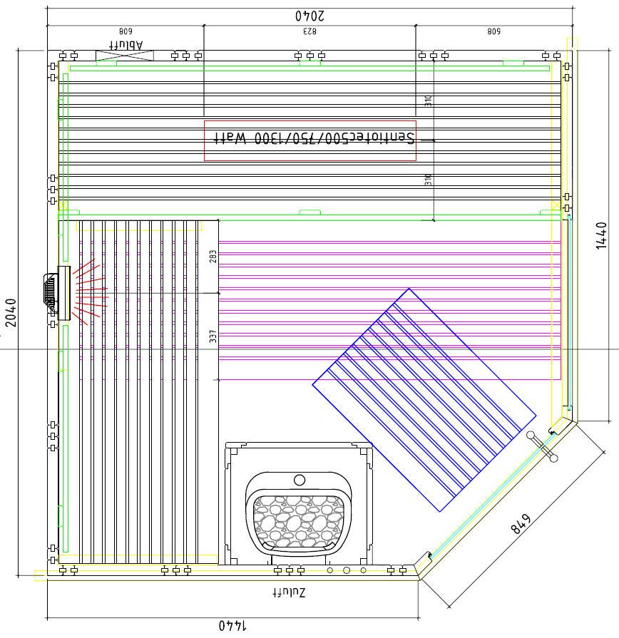 Kombisauna SET Varberg Deluxe RECHTS 2,04 x 2,04 x 2,04m