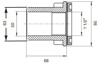 NEPTUN Mauerdurchführung Kurz 65 mm - ABS