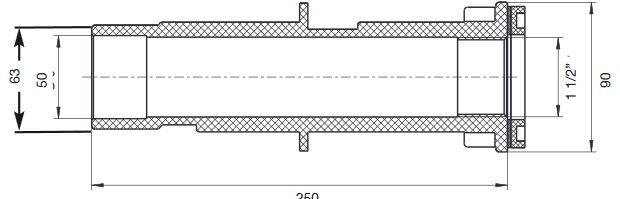 NEPTUN Mauerdurchführung Lang 250 mm - ABS