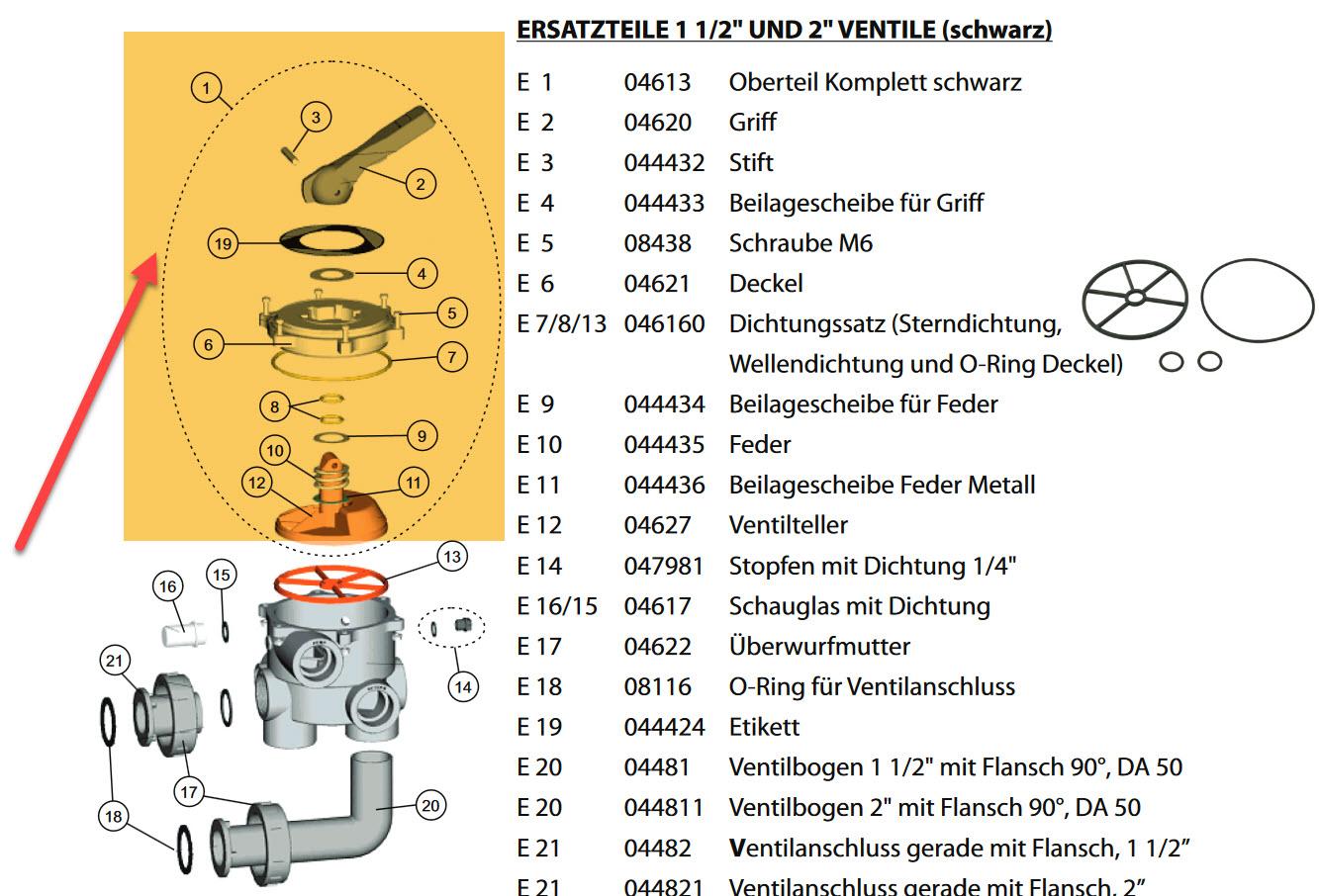 Oberteil zu 6-Wegeventil Astral 1 1/2 IG (PS6103)