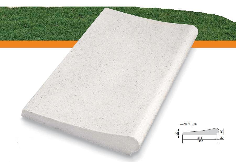 Randstein gerade 60x33 cm, Welle (65-30 mm), weiss-sandgestrahlt