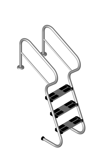 Treppenleiter mit 4 Stufen V2A