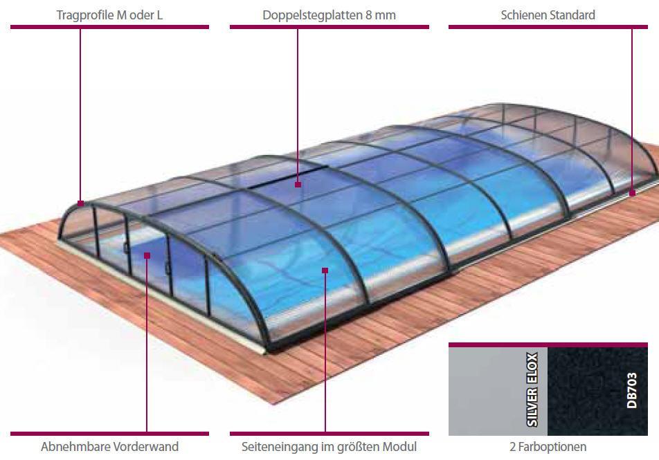 Schwimmbadüberdachung DALLAS-flach, 646x350x75 cm