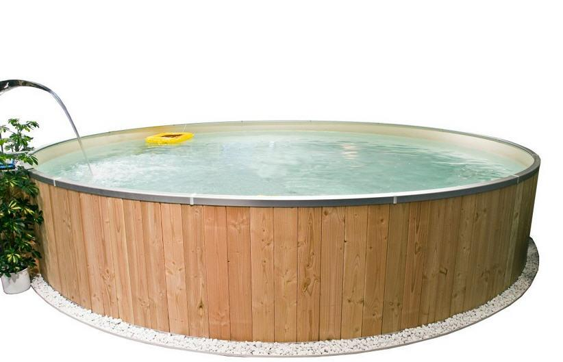 FUN WOOD POOL 600 cm x 120 cm - SAND, mit Holzverkleidung