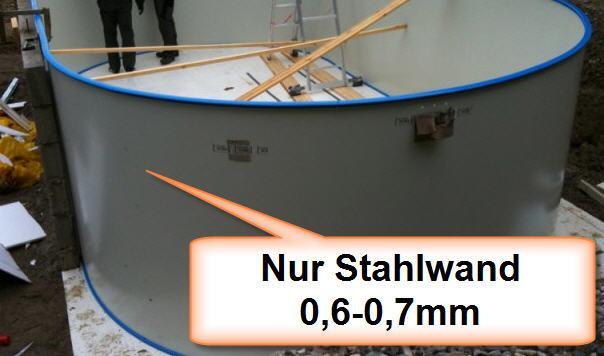 Stahlwand zu Ovalbecken 800 x 400 x 120 cm (15235)
