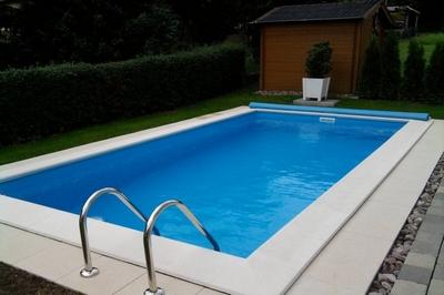 Pool Randsteine Welle Weiss 900 x 400 cm, Eckig