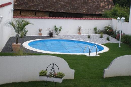 Pool Randsteine Welle Weiss 550 cm, Rundbecken