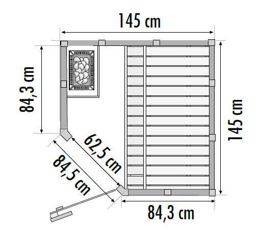Massivsauna Pori 1,45 x 1,45 x 2,04 m