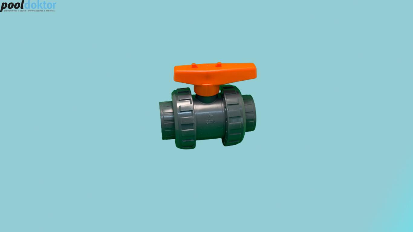 PVC - Kugelhahn D50 - ORANGE